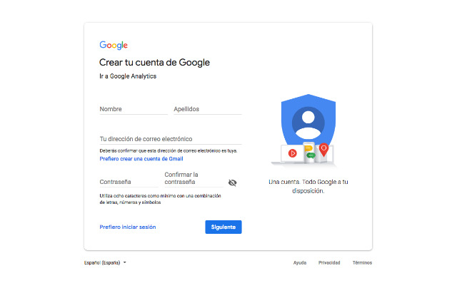 crear una cuenta Google sin usar el Gmail
