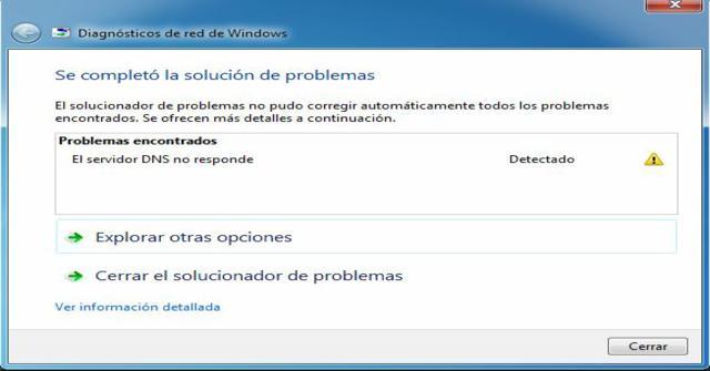 el servidor DNS no responde