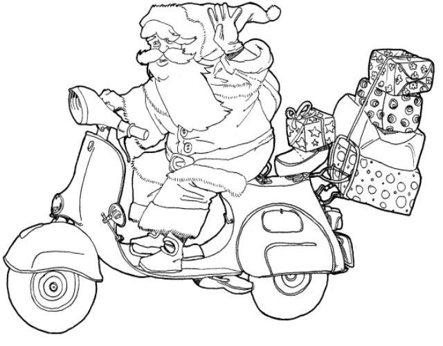 5 dibujos de papa noel para colorear