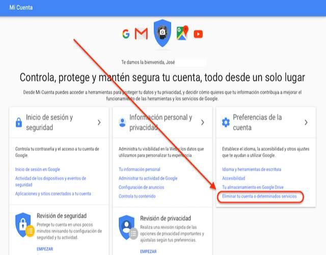 Cómo eliminar cuenta gmail
