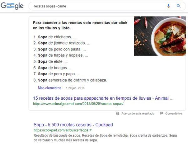 excluir palabras o páginas en las búsquedas en Google