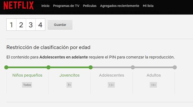 añadir un PIN a Netflix de control parental