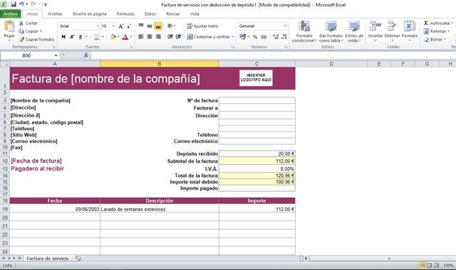 hacer una factura en Excel
