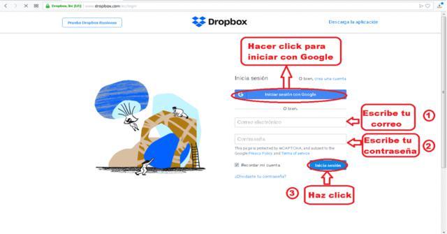 iniciar sesión de Dropbox en PC y Mac