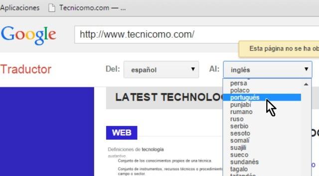 traducir una página web