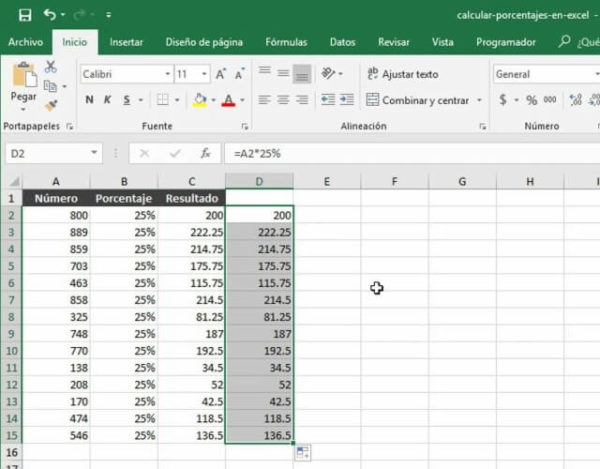 porcentaje en Excel