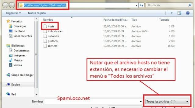 usar archivos Hosts