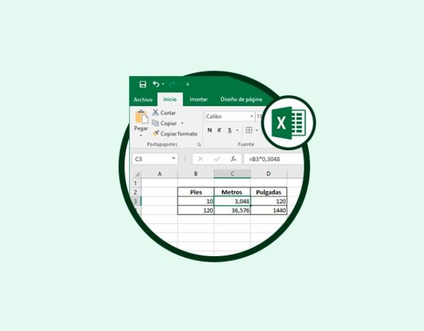 convertir medidas con Excel